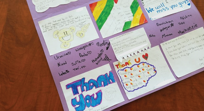 A variety of thank-you poems written by the students for our volunteers