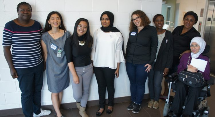 From left to right - INCLUDED Participant and Summit speaker Judith, Project Facilitator Coly, Committee Member and Volunteers Jercy, Mazlina, Norah, Daphne, Ciress and Nouma